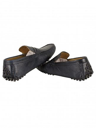Base London Snake Navy Morgan Loafers